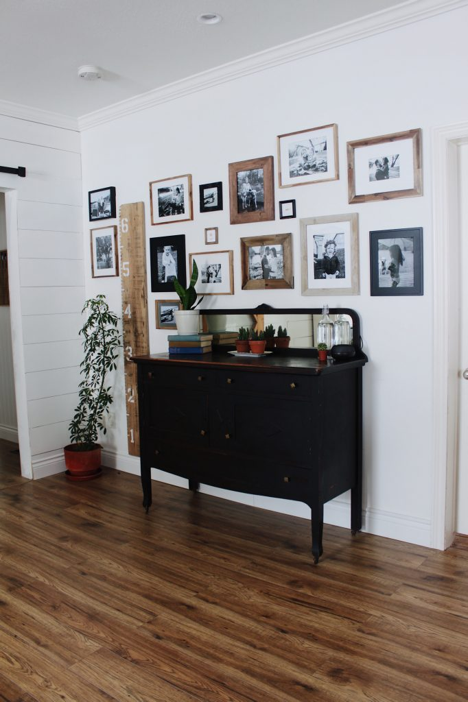 gallery wall with grow chart