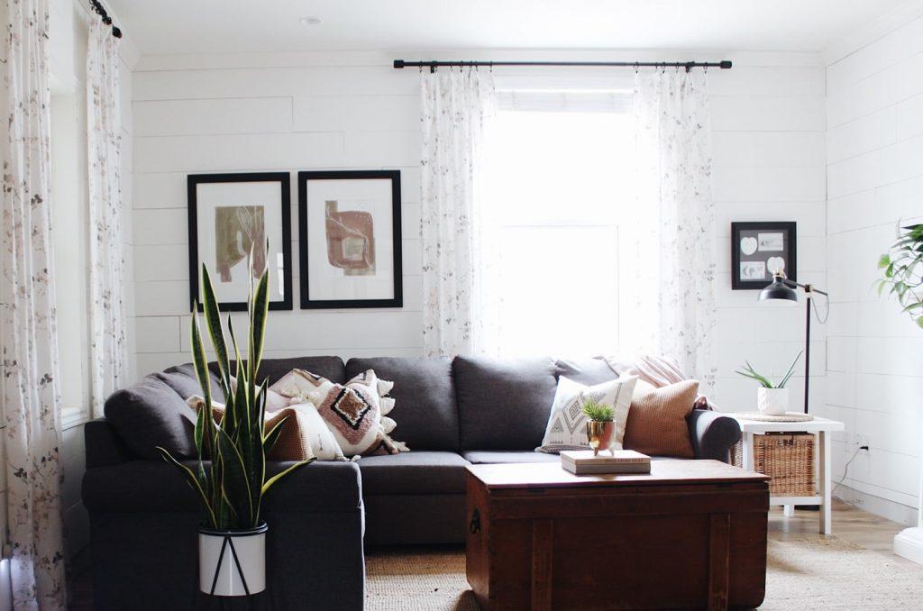 boho modern living room with shiplap