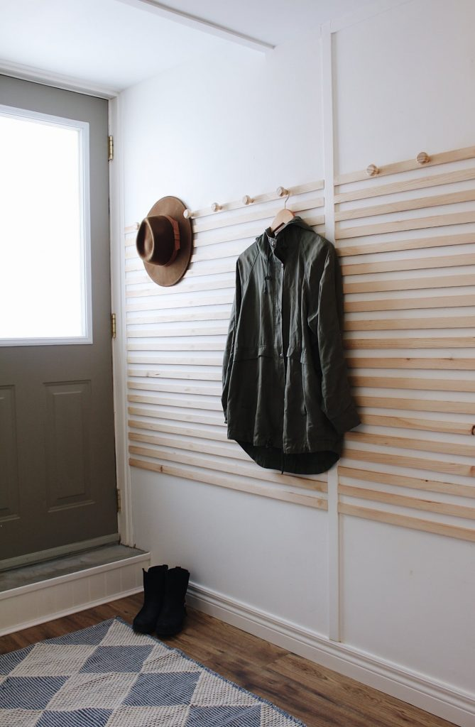 modern accent wall with hooks