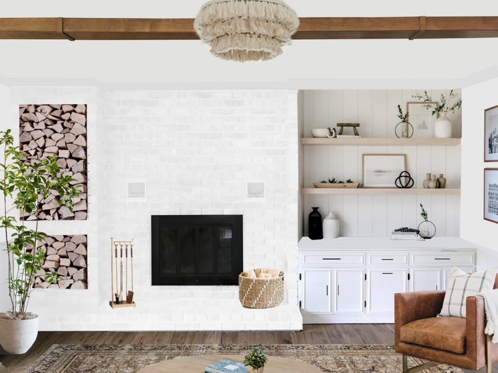 white brick fireplace with floating shelves and built-ins