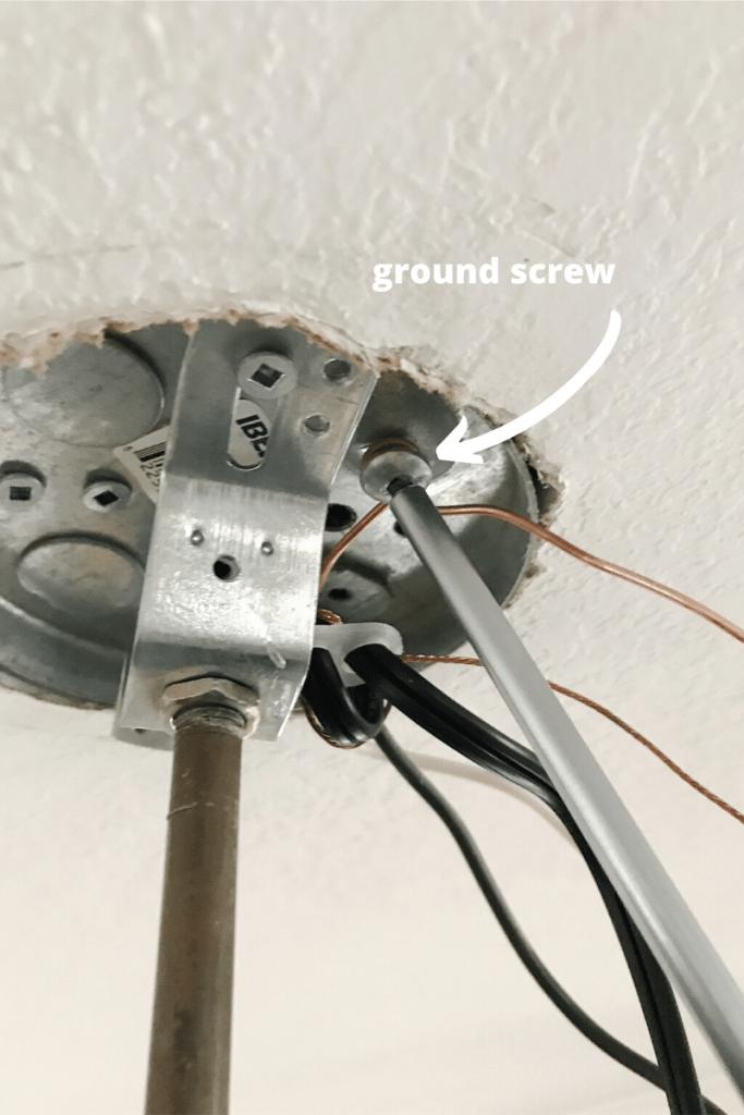 tightening ground screw onto ground wire