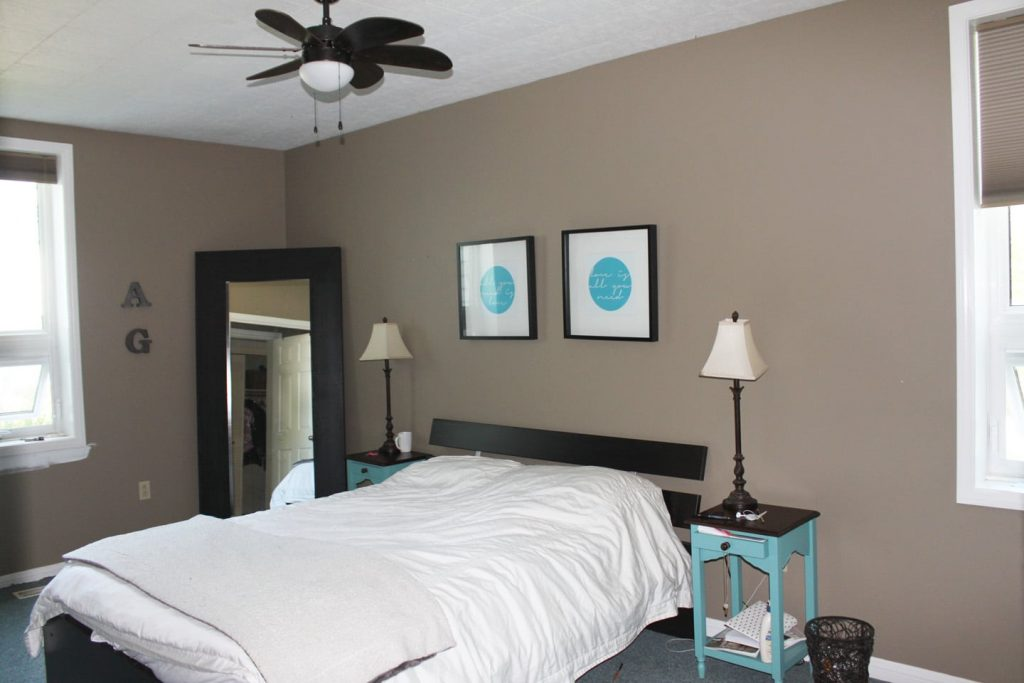 update old bedroom brown on a budget by adding wall treatment