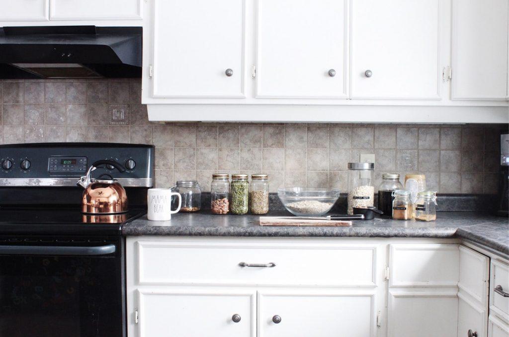 gluten-free baking supplies on kitchen counter