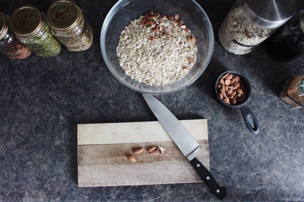 chopping hole almonds