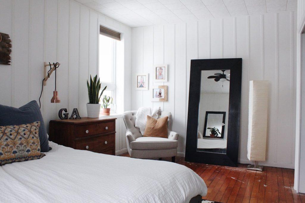 board and batten master bedroom