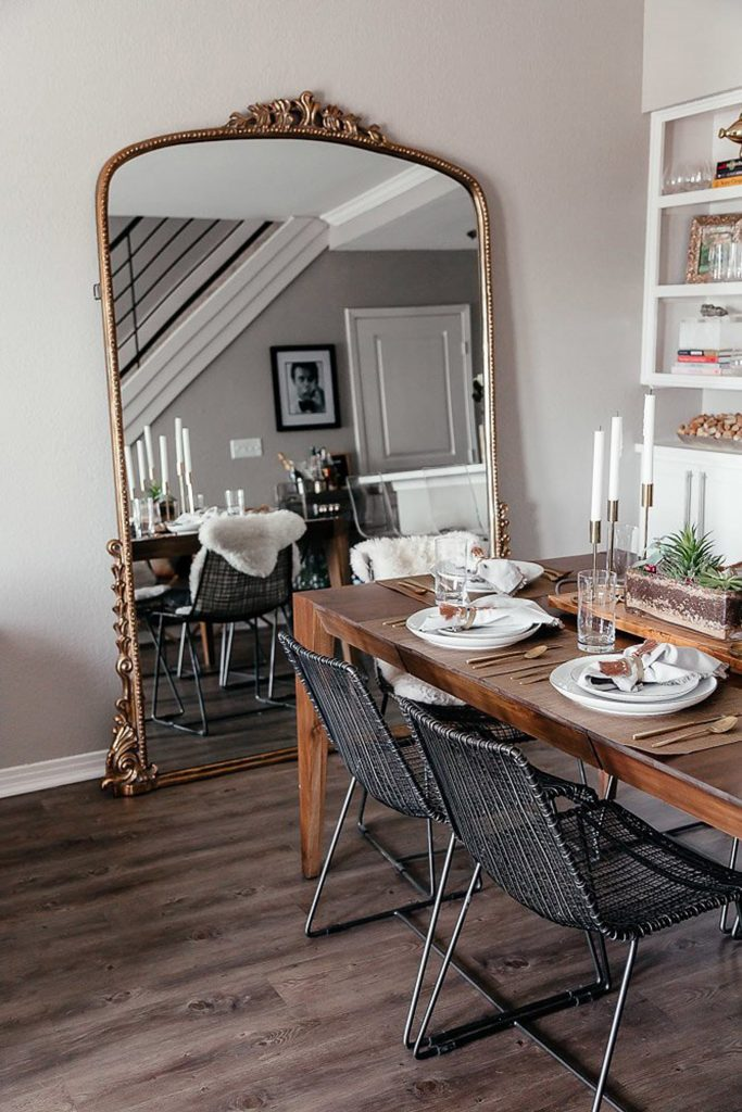 large mirror in the dinning room