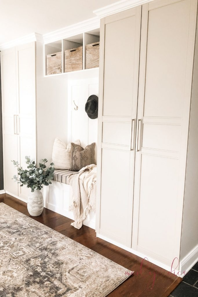 mudroom cubbies with doors