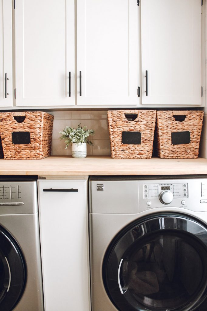 DIY shaker cabinet installed in laundry room