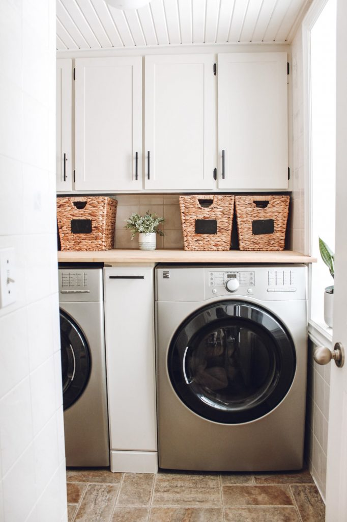 DIY Shaker Cabinets in laundry room