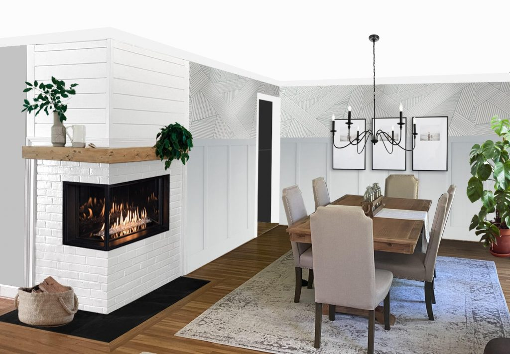 dining room makeover with corner fireplace