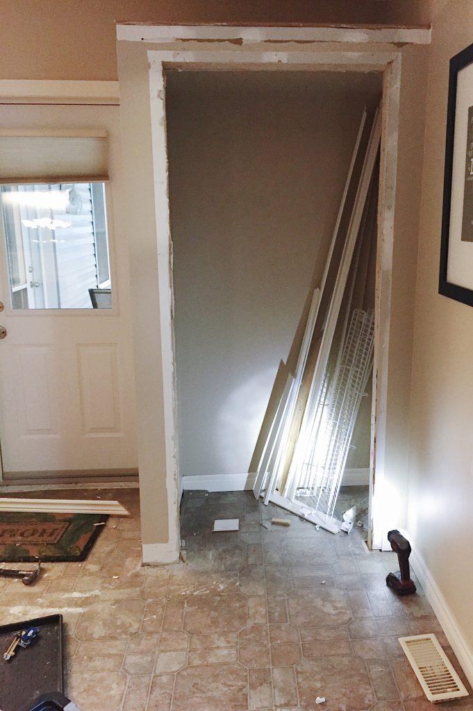 remove entryway closet to create an open entryway