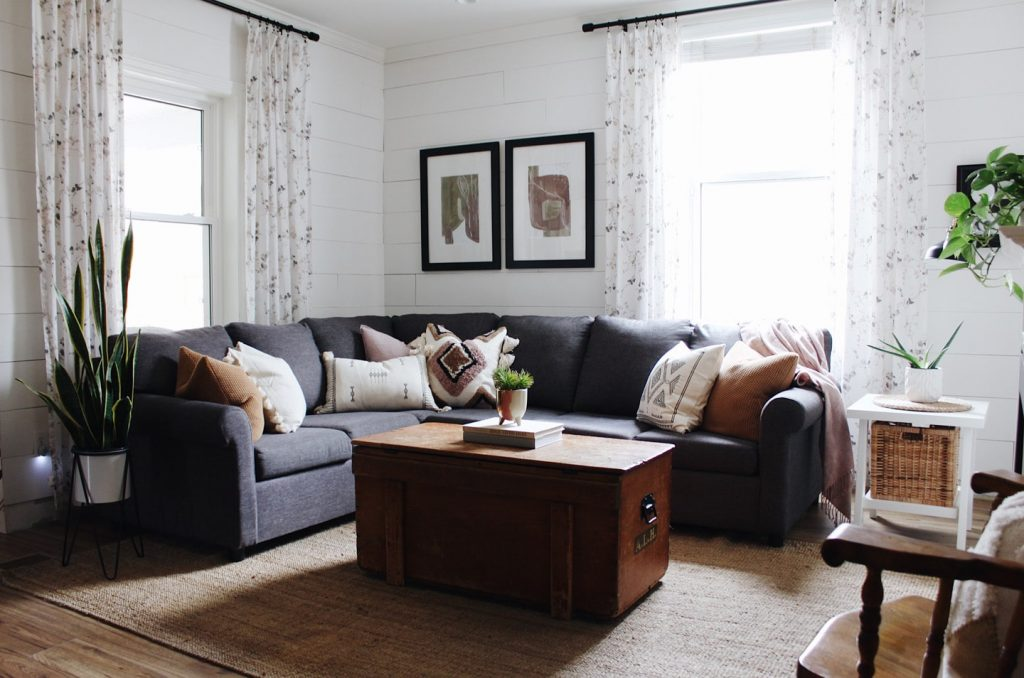 cozy living room with shiplap and sectional