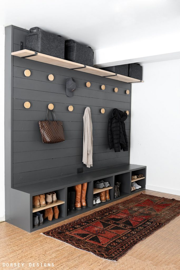 open concept cubbies for entryway