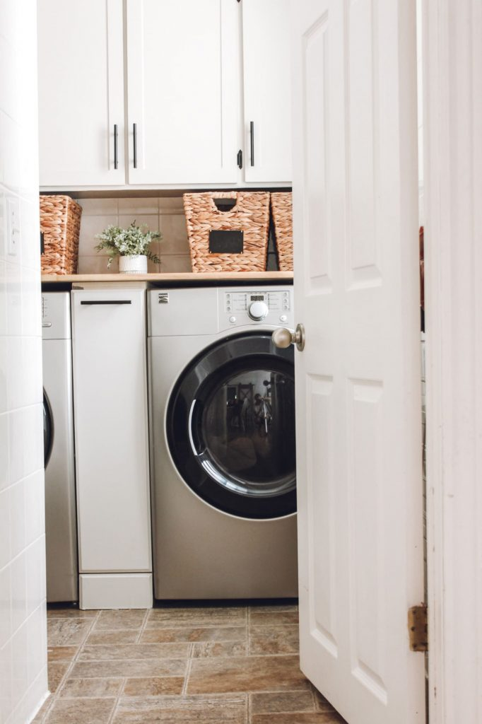 how to install cabinet hardware in the laundry room