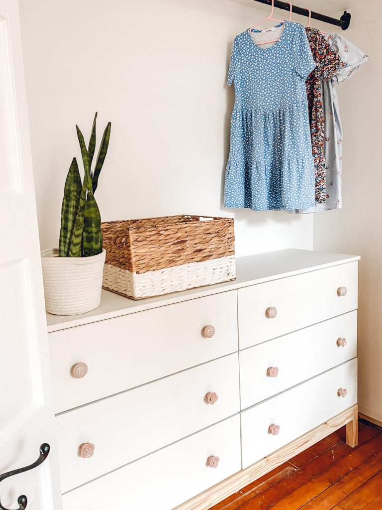 Ikea Tarva dresser in closet with clothes, updates beginners can make to their home