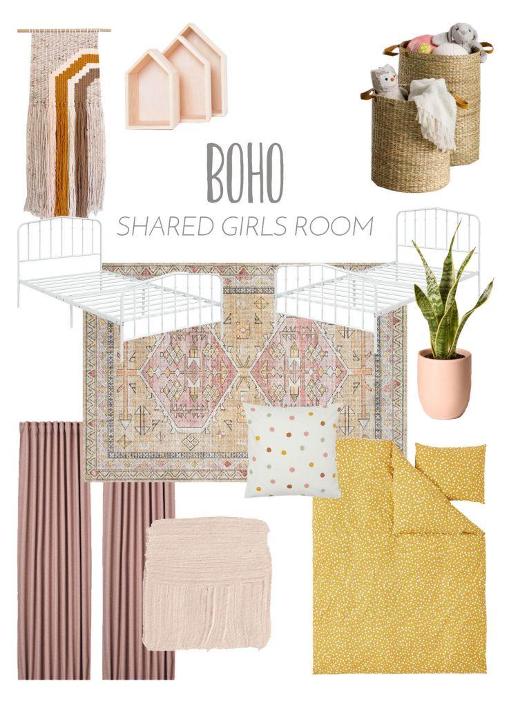 boho shared girls room