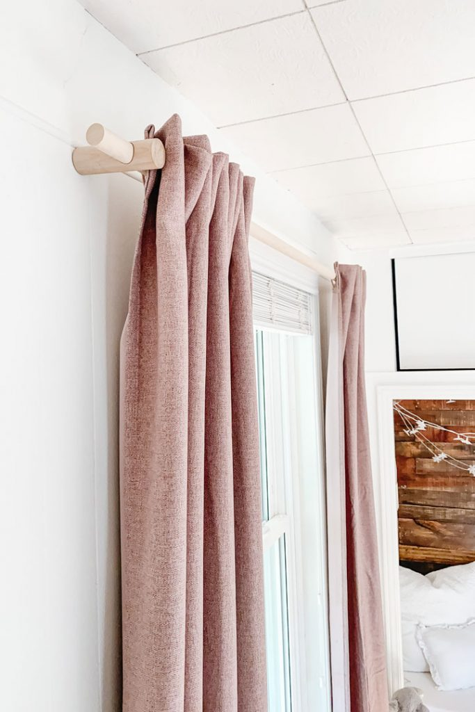 wooden curtain rod close up
