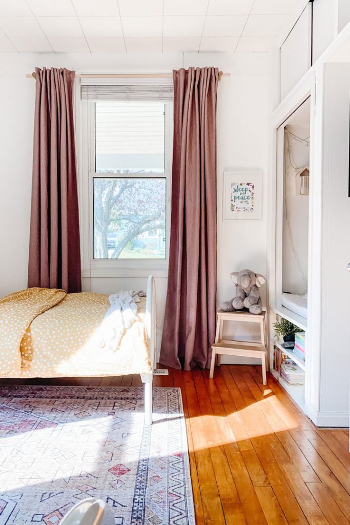 bedroom with wooden curtain rod updates beginners can make to their home