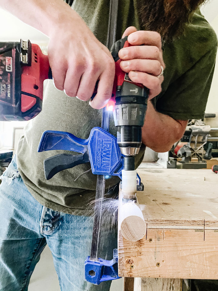 creating a whole with a holesaw in dowel