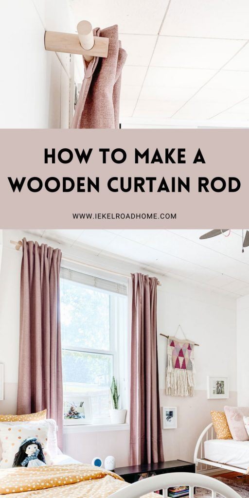 how to make a wooden curtain rod pinterest image