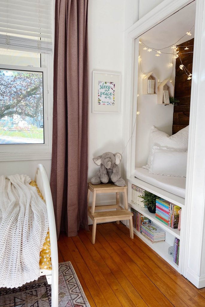 reading nook in a bedroom closet