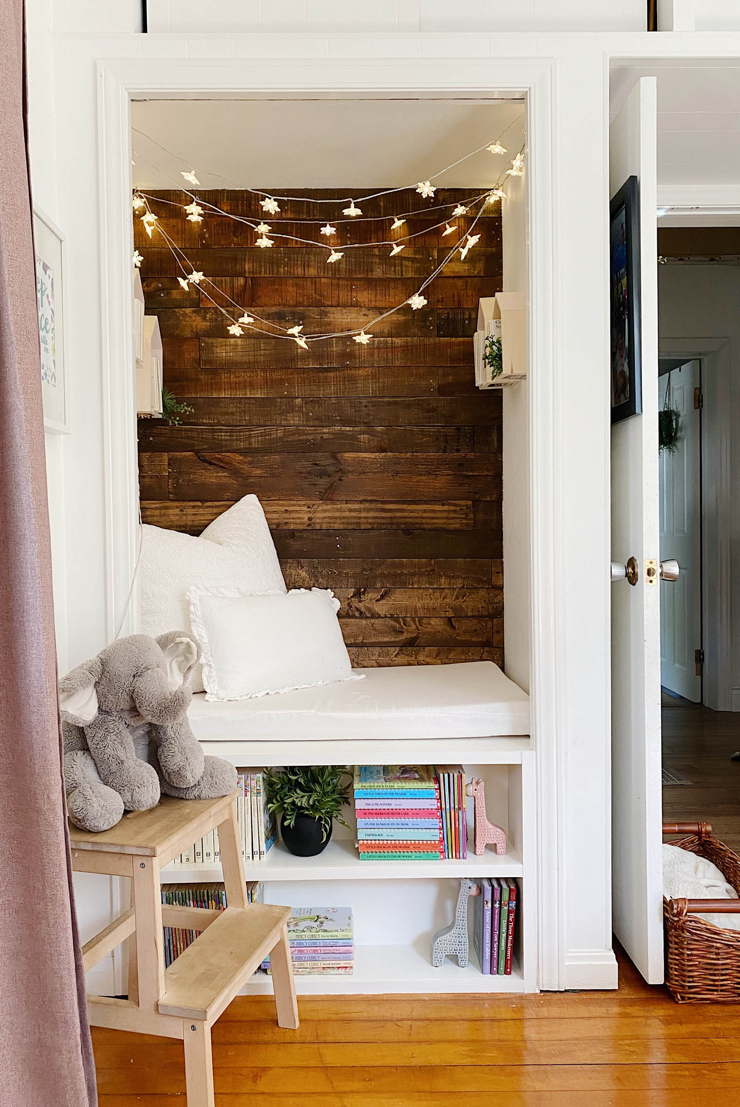 reading nook from a bedroom closet