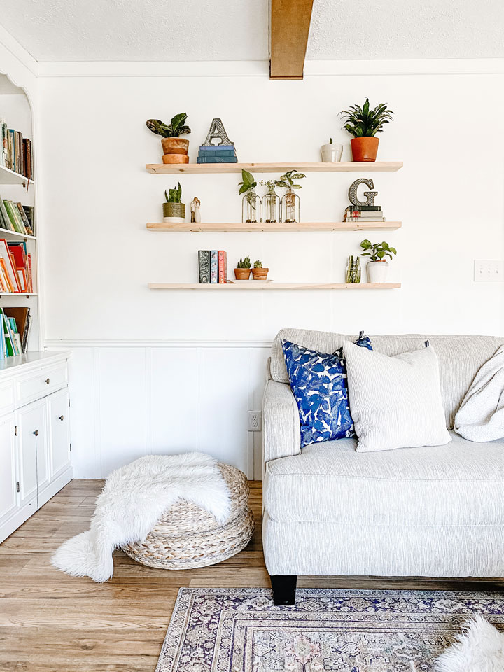 living room playroom combo with floating plant shelves