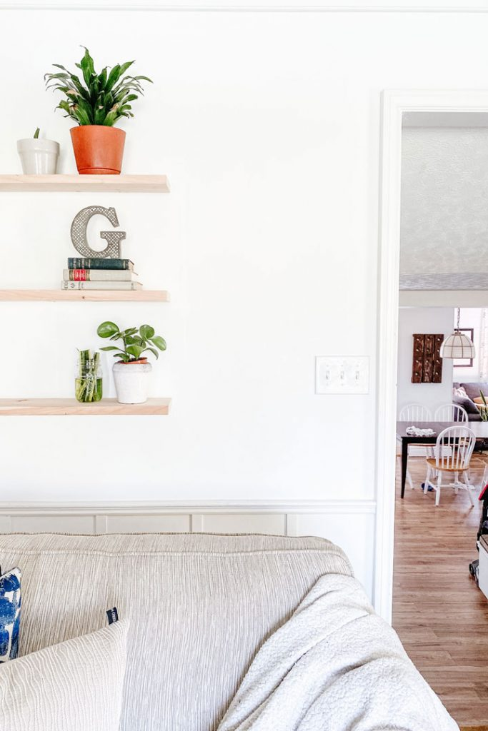 plant shelf on the left with updated light switch on the right