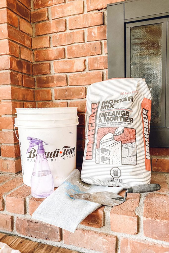 supplies needed to mortar a brick fireplace