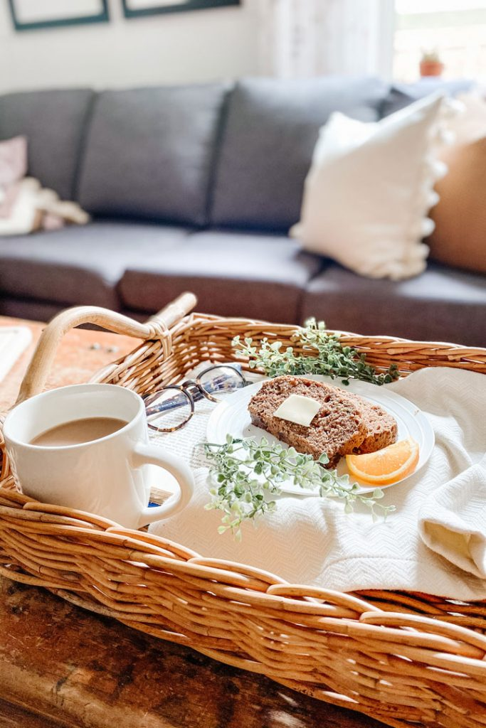 gluten-free zucchini bread and tea in serving tray