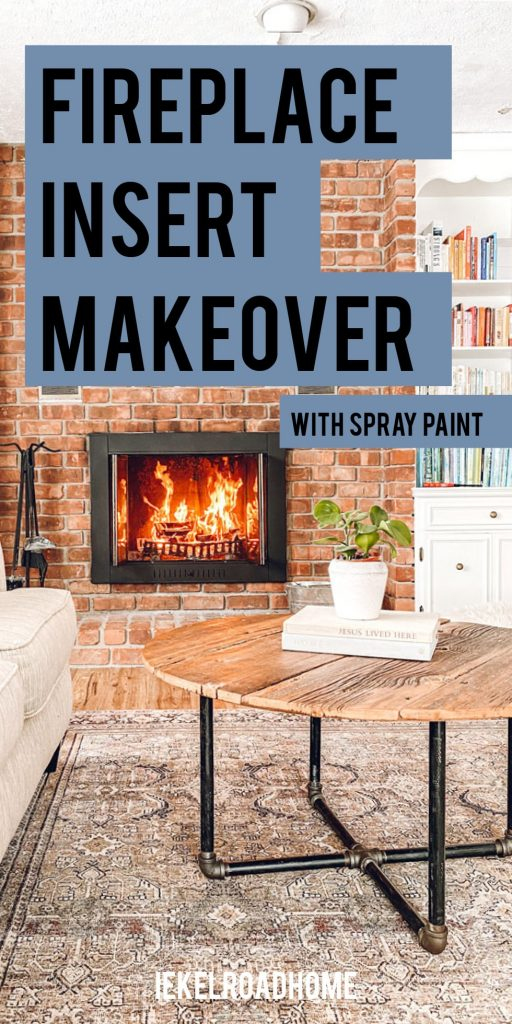 fireplace insert makeover with spray paint pinterest image