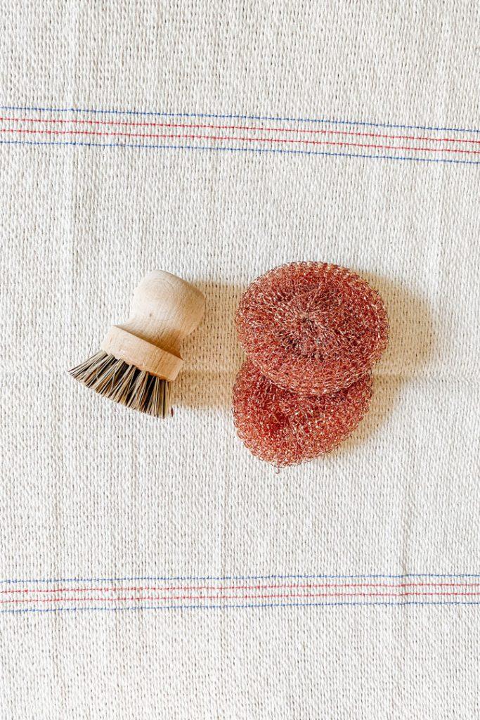 eco-friendly kitchen pot scrubbers on kitchen towel