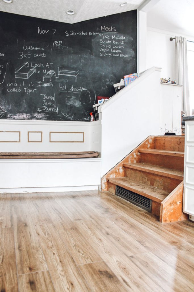 raw wood staircase before diy staircase makeover