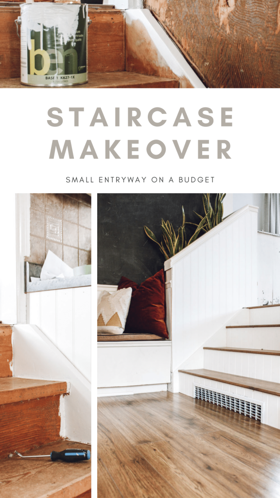 staircase makeover small entryway on a budget pinterest image
