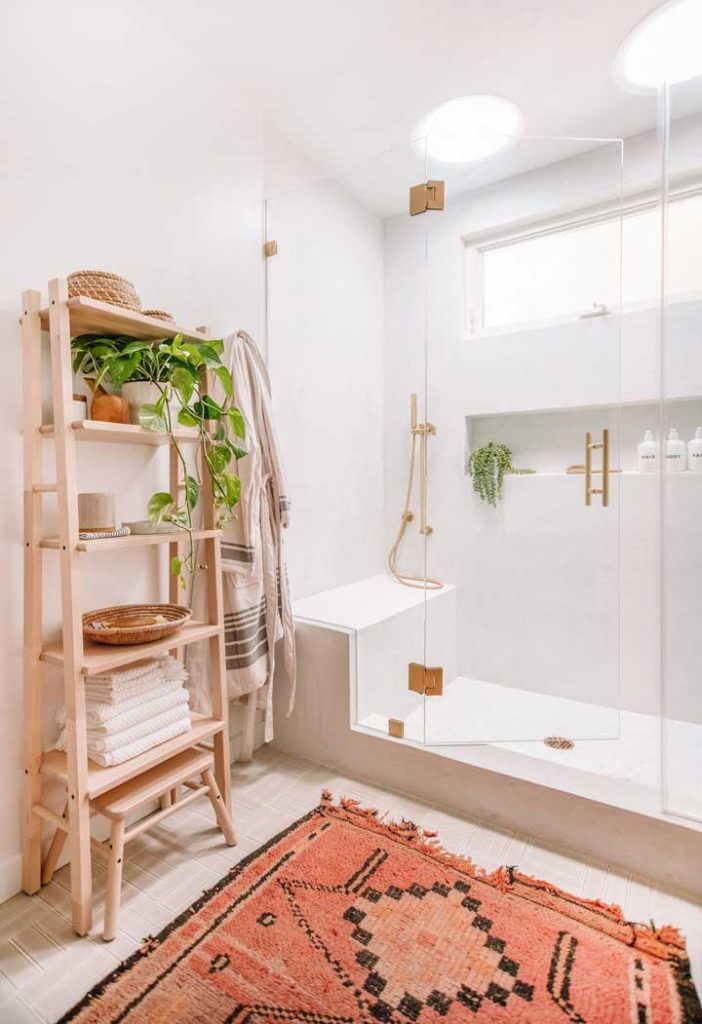 when you don't have a linen closet try using open shelving in the bathroom