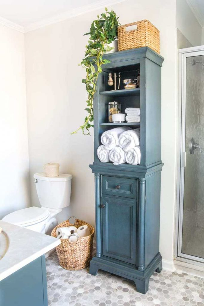 try and linen cabinet in the bathroom when there in no linen closet