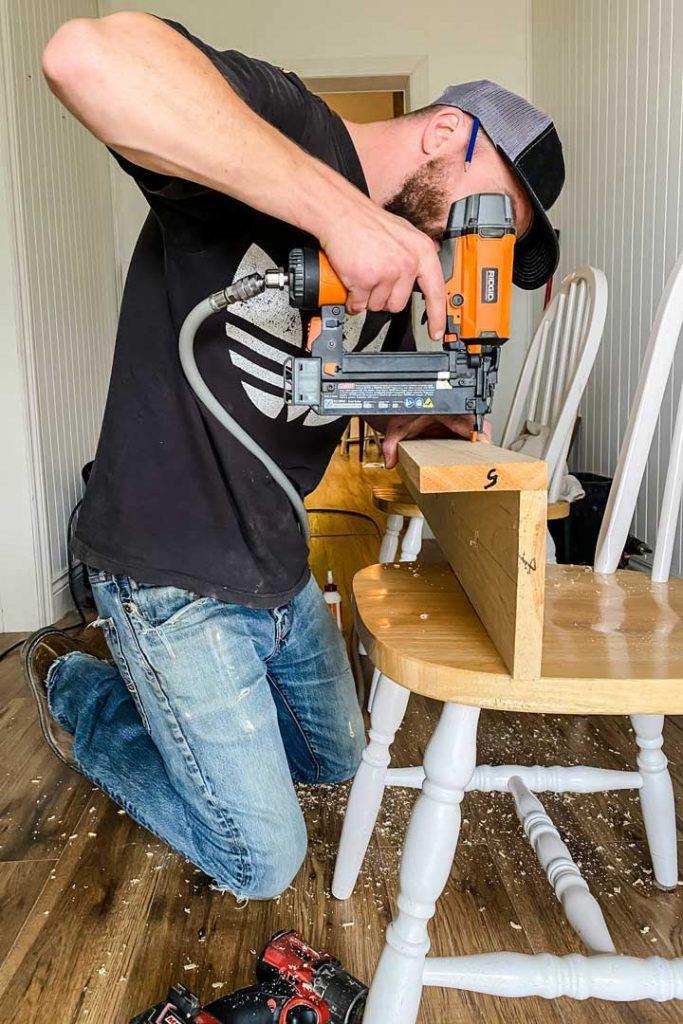 Using a brad nailer attach 1x4 to 1x6 to create peg rail shelf