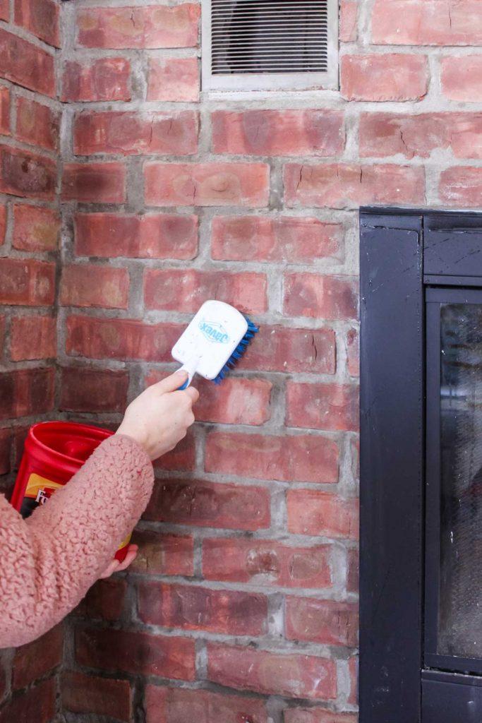 washing brick fireplace before painting
