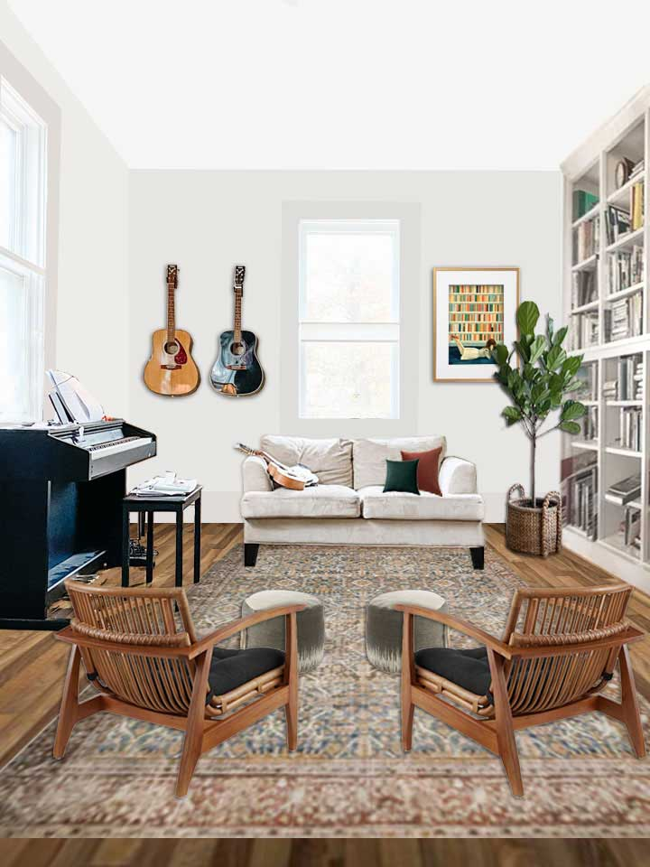 digital design of a home library with two accent chairs a couch, piano and floor to ceiling bookcase