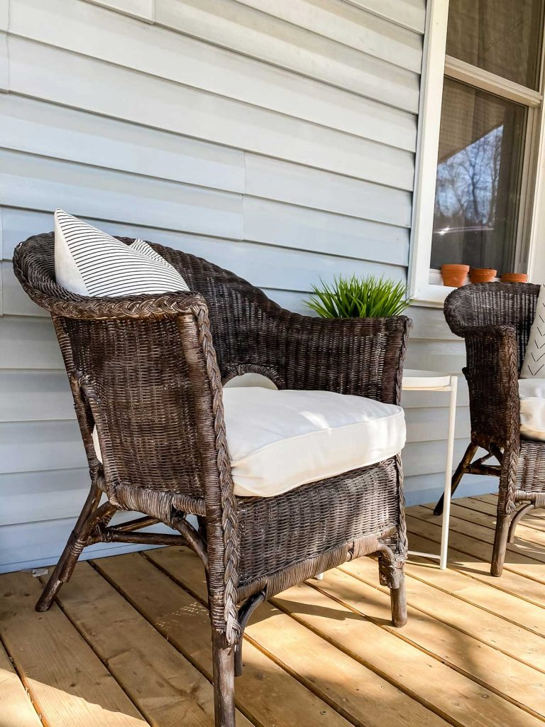 updated old wicker furniture with brown modern looking painted wicker