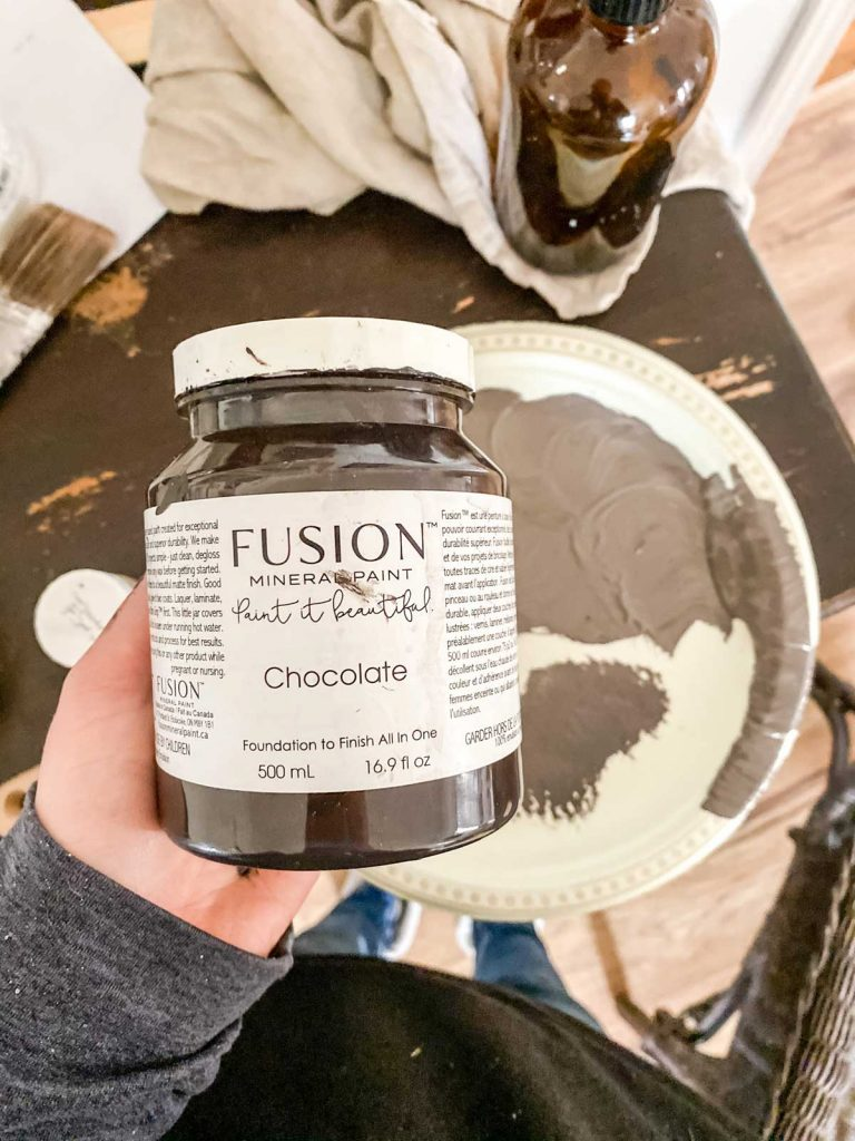 fusion mineral paint chocolate used to update wicker furniture